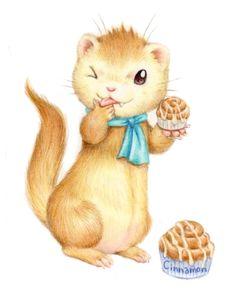 フェレットカフェ~シナモン~/Cinnamon ferret    #illustration