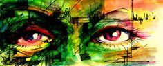 a little fun colors;)  by Michal J. Gabriel Rodak #art  #eyes  #green  #watercolors  #fun  #painting  #drawing  #painter