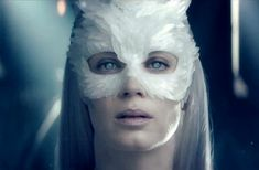 A look at the Snow Queen, Emily Blunt feather owl mask from the trailer. From Queen of Blunts   Tumblr