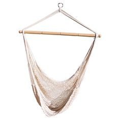 Hanging hammock chair made from cotton netting and Indonesian hardwood.Product: Hammock chair Construction Material: C...