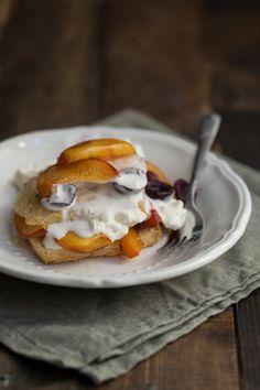 Roasted Peach & Cherry Einkorn Shortcake | Naturally Ella