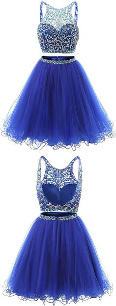Backless Prom Dress, Tulle Prom Dresses, Beaded Homecoming Dress, Royal Blue Homecoming Dresses, Two Piece Cocktail Dresses #promshoesideas