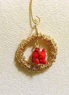 Fortune cinnabar elephant pendant handmade with gold wire by HoneyMoonNYC on Etsy