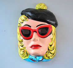 Vintage Halloween Mask - 60's Mod Girl