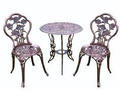 3 Piece Bistro Set Iron Patio Outdoor Garden Furniture Rose Design Wrought  Small