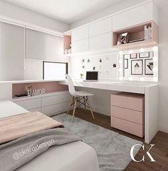FOR EVERYTHING for this kitchen! What a beautiful combination of gold, rose and – Zimmer deko ideen - Diy Furniture Small Room Bedroom, Room Decor Bedroom, Girls Bedroom, Bedroom Ideas, Bedroom With Office, Bedroom With Vanity, Small Bed Room Ideas, Master Bedroom, Small Apartment Bedrooms