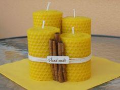 Sviečka z včelieho vosku rôzne výšky Pillar Candles, How To Make, Handmade, Crafts, Design, Hand Made, Craft, Crafting, Diy Crafts