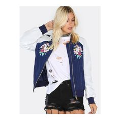 SheIn(sheinside) Floral Embroidered Bomber Jacket NAVY ($36) ❤ liked on Polyvore featuring outerwear, jackets, navy, stand collar jacket, zipper jacket, navy bomber jacket, stand up collar jacket and flight jacket