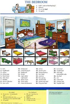 13 - THE BEDROOM - Pictures dictionary - English Study, explanations, free exercises, speaking, listening, grammar lessons, reading, writing, vocabulary, dictionary and teaching materials