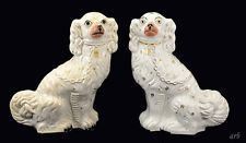 2 Large Lovely Mid-1800s Antique Staffordshire Porcelain Spaniel Dog Statues