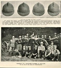 """WWi, 27 Jan 1917; """"France-Hatter to the Allies. The Adrian steel helmet, originated in France, has been adopted by the Belgians, Italians, Serbians, Russians, and Roumanians. All of these nations are supplied from the French factories. Each nation has a different badge stamped on the front, except Italy, which reveives the headgear perfectly plain."""" - The Queenslander Pictorial"""