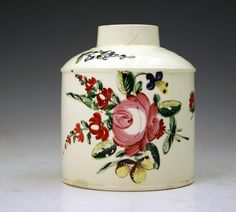 Swansea Cambrian pottery creamware tea caddy c1780