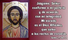 Júzgame, Señor, conforme a mi justicia y de acuerdo con mi integridad. Mi escudo es el Dios Altísimo, que salva a los rectos de corazón. (Salmo 7, 9b.11)