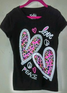 JUSTICE GIRLS BLACK T-SHIRT WITH HEARTS. SIZE. 8 #Justice #Everyday