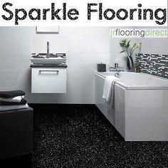 BLACK Sparkly Bathroom Flooring / Glitter Effect Vinyl Floor. Next Sparkle Lino