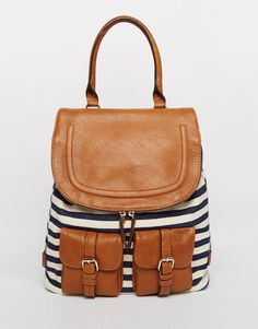 Image 1 of ALDO Stripe Backpack with Contrast Tan Detail