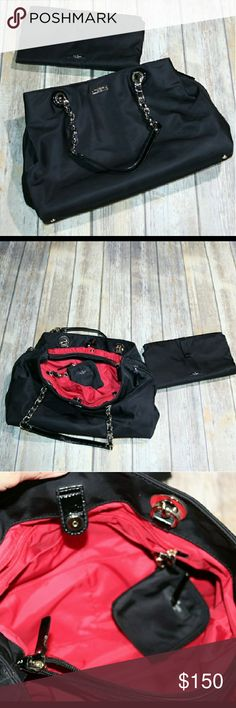 Kate Spade Black Diaper Bag EUC  Kate Spade  Black diaper bag with red interior Small pen mark on the inside shown in photo #5 All measurments in photos are approximate  No trades but open to offers. kate spade Bags Baby Bags