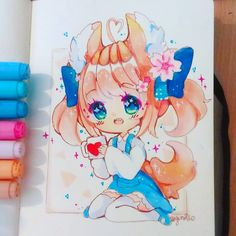 Dibujos Anime Chibi, Cute Anime Chibi, Kawaii Chibi, Kawaii Art, Kawaii Anime Girl, Copic Drawings, Kawaii Drawings, Cute Drawings, Copic Art
