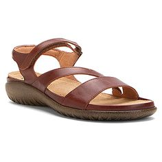 f53ce426d8c4 ETERA women s sandal in luggage brown leather.The Naot Etera is an  extremely comfortable sandal with a padded backstrap. This style features a  hook and loop ...