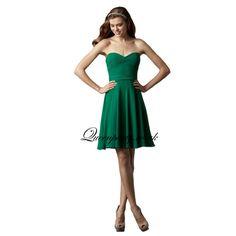 Green Chiffon Sweetheart Knee Length Bridesmaid Dress With Draped Bodice - Bridesmaid Dresses - Wedding Dresses