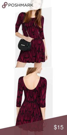 NWOT! Express Red Feather Print Scoop Back Dress Never worn Express dress size XS Express Dresses Mini