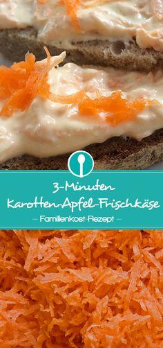 Frischkäse mit Karotte und Apfel: Brotaufstrich für Babys und Kleinkinder.