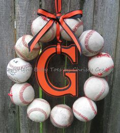 The Original San Fransisco Giants/Baltimore Orioles Baseball Wreath - With Letter