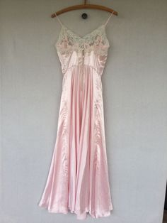 Details about Bridal Glamour Nightgown NATORI Long Full Length Pink Satin  White Lace Small 9f4dff3eb