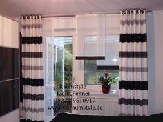 Schlaufenschal wohnzimmer ~ Lila schiebevorhang fürs wohnzimmer mit grauen seitenschals