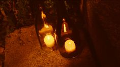 Make 3 simple and elegant DIY outdoor lighting projects using recycled wine bottles. Recycled Glass Bottles, Hurricane Lamps, Iron Work, Light Project, Diy Recycle, Liquor Bottles, Diy Candles, Repurposing, Outdoor Lighting