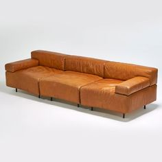 """Harvey Probber; Leather """"Cubo' Sectional Sofa, 1970s."""