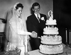 Bride's notes: The cake was beautiful, everyone said it was the nicest they had ever seen. (The baker had promised to make me a lovely cake when I got married and he certainly did. He worked beside me when I worked in Lamson's Maumee. 50s Wedding, Wedding Veils, Wedding Bride, Wedding Cakes, When I Get Married, I Got Married, Here Comes The Bride, Beautiful Bride, Bridal Style