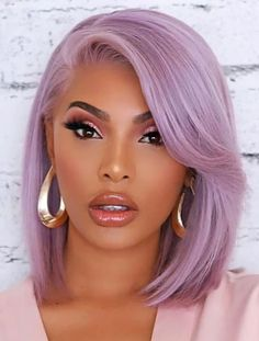 Lavender Hair Colors, Hair Color Purple, Brown Hair Colors, Green Hair, Pink Hair, Purple Bob, Blonde Color, Ombre Hair, Wavy Hair