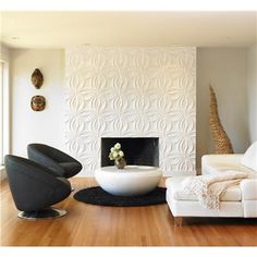 simple and chic, love that fireplace