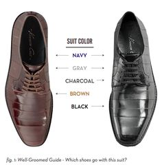 for the men: brown or black shoes? suit + shoe color guide As a guy who doesn't know and needs to know Suit Shoes, Men's Shoes, Dress Shoes, Footwear Shoes, Sharp Dressed Man, Well Dressed Men, Mode Man, Look 2015, Style Masculin