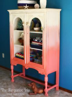 Vintage Furniture The Turquoise Iris ~ Vintage Modern Home: Coral Ombre' Cabinet Furniture Diy, Painted Furniture, Creative Furniture, Refurbished Furniture, Diy Furniture, Furniture, Furniture Inspiration, Coral Painted Furniture, Vintage Furniture