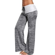 Freeby Womens Yoga Athletic Pants Casual Solid Color Hip Lift Loose Comfortable Wild Wide Leg Sports Pants