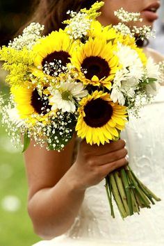 Beautiful Hand Tied Wedding Bouquet Arranged With: Yellow Sunflowers, White Daisies, White Gypsophila, Yellow Solidago (Goldenrod), Greenery/Foliage