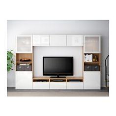 BESTÅ TV storage combination/glass doors, oak effect, Selsviken high-gloss/white frosted glass - 300x40x192 cm - IKEA