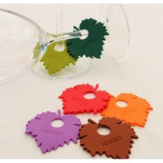 Identificadores de copas de vino originales, en forma de hoja de vid