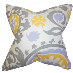 """Pretty and chic, this throw pillow is a must-have for your living space. This accent pillow features a floral pattern in shades of gray, purple, yellow and white, this 18"""" pillow. Add charm and comfort to your sofa, bed or seat with this 18"""" pillow. Combine with solids and other patterns for a contemporary look. Made of 100% soft cotton fabric. $55.00 #pillows #homedecor #tosspillow #graphic #interiorstyling"""