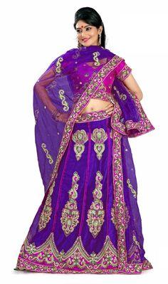 $110.84 Purple Silk Embroidered A Line Lehenga Choli 22207