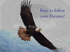 "Soaring Bald Eagle Inspirational Quote ""Dare to follow your Dreams!"""