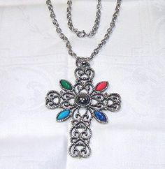 Vintage Avon Cross Pendant Necklace Silver Blue Green Orange