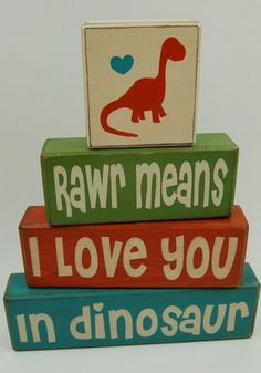 Roar Rawr means I love you in dinosaur Dinosaur decor primitive wood sign stacking blocks nursery birthday shower centerpiece children boy