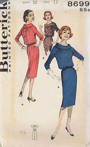 8699-Butterick-VINTAGE-SHEATH-DRESS-Sewing-Pattern-SIZE-12-BUST-32-HIP-34-CUT