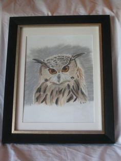 Charcoal color drawing handmade owl framed art by TCsgirlscrafting, $45.00
