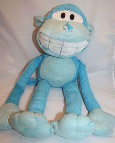 "Kellytoy Blue Monkey Plush 22"" Big Mouth White Teeth Long Leg Arm Stuffed Animal"