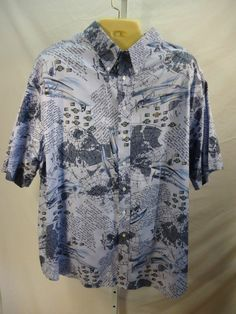 ROUNDTREE & YORKE Men's Shirt Size 4XLT Airplanes Blue Button Front #RoundtreeYorke #ButtonFront