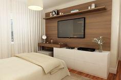 No quarto, painel decorativo para TV e de apoio. Conforto, aconchego, beleza... Vem aí projeto novo, aguardem, e, por enquanto, curtam o 3D! Inspire-se em outros projetos➡www.lilianazenaro.com.br #lilianazenaro #lilianazenarointeriores #projetolilianazenaro #quarto #estilocontemporâneo #coresclaras#decoradorasp #decoradoramoema Simple Bedroom, Hotel Room Design, Tv In Bedroom, Bedroom Bed Design, Remodel Bedroom, House Rooms, Home Suites, Bedroom Closet Design, Stylish Bedroom Design